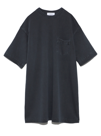 ハーフスリーブポケットTシャツワンピース(BLK-F)