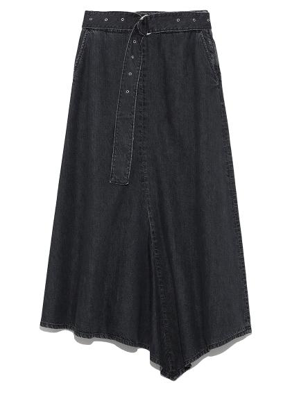 ベルト付フロントドレープデニムスカート